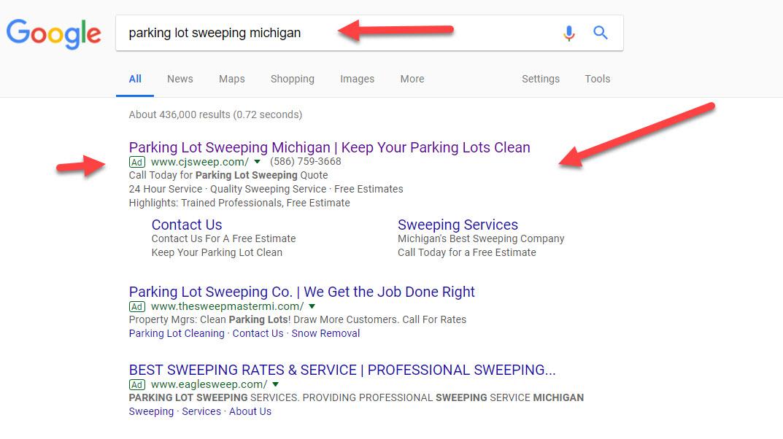 Google AdWords Result
